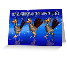 Fun Christmas Card With Running Turkeys Greeting Card