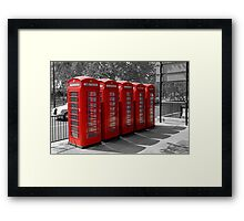 Group of Red Telephone boxes in London Framed Print