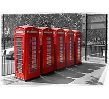 Group of Red Telephone boxes in London Poster