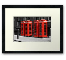 Group of Red telephone boxes London Framed Print