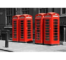 Group of Red telephone boxes London Photographic Print