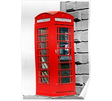 Single red phone box in London Poster