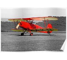 Red Tiger Moth Bi-plane Poster