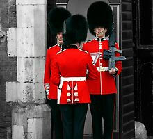 Changing guard at St. James Palace London. by Chris L Smith