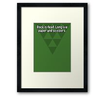 Rock is dead. Long live paper and scissors. Framed Print