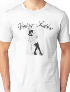 Vintage Fashion In Black And White Unisex T-Shirt