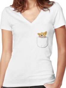 Pocket Corgi Pup Women's Fitted V-Neck T-Shirt