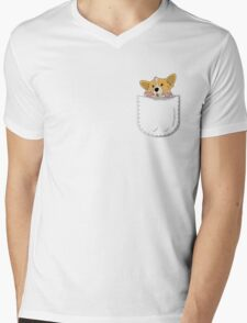 Pocket Corgi Pup Mens V-Neck T-Shirt