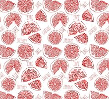 Grapefruit hand drawn red doodle seamless pattern. by sailorlun