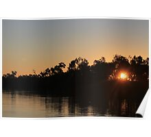 Outback Sunset, Thomson River - Longreach.  Poster