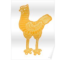 Orange chicken hen vintage hand drawn illustration Poster