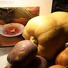 Pumpkin with book, potato and onion by Hege Nolan