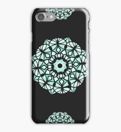 Seamless pattern / Islam, Arabic, Indian, ottoman motifs /mandala / white color on black background iPhone Case/Skin