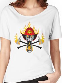 Flaming Fireman Skull and Axes Women's Relaxed Fit T-Shirt