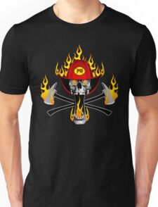 Flaming Fireman Skull and Axes Unisex T-Shirt