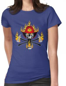 Flaming Fireman Skull and Axes Womens Fitted T-Shirt
