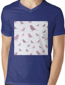 Sweet birds on a white background pink Mens V-Neck T-Shirt