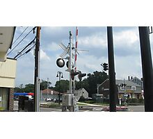Train Signals at North Scituate Intersection Photographic Print