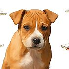 American Staffordshire puppy & butterflies by Cazzie Cathcart