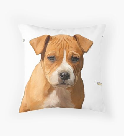 American Staffordshire puppy & butterflies Throw Pillow