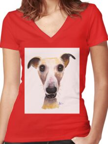 NOSEY DOG 'HOLLYWOLLY' BY SHIRLEY MACARTHUR Women's Fitted V-Neck T-Shirt