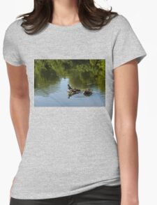 Guarding My Sleeping Family - a Mother Duck and Ducklings on the Pond Womens Fitted T-Shirt