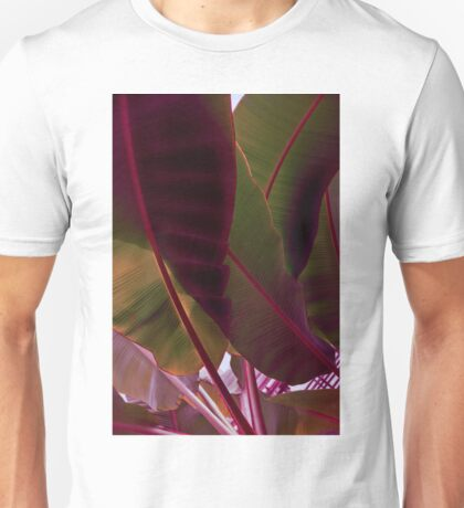 Rich Maroon and Jungle Green - Exotic Tropics Unisex T-Shirt