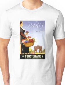 Paris Vintage Travel Poster Restored Unisex T-Shirt
