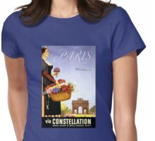 Paris Vintage Travel Poster Restored Womens Fitted T-Shirt