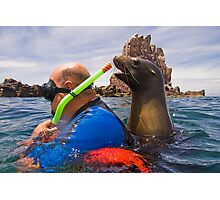 Curious California Sea Lion with Carlos Photographic Print