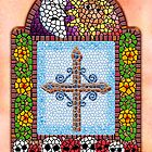 Day Of The Dead Cross Mosaic by Jamie Rice