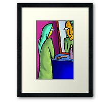 Beauty of woman reflected in mirror Framed Print