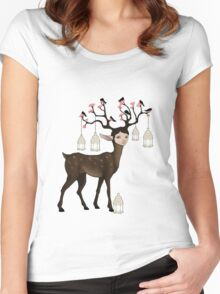 The Happy Springtime Deer! Women's Fitted Scoop T-Shirt