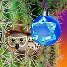Chanukkah Owls In Saguro  by Jamie Rice