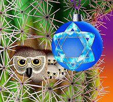 Chanukkah Owls In Saguro  by Jamie Rice