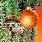 Christmas Owls In Saguaro by Jamie Rice