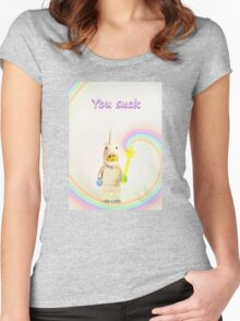 Unicorn says you suck Women's Fitted Scoop T-Shirt