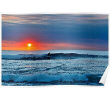 Sunset Surfing Poster