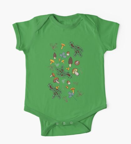dark wild forest mushrooms One Piece - Short Sleeve