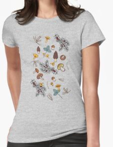 dark wild forest mushrooms Womens Fitted T-Shirt