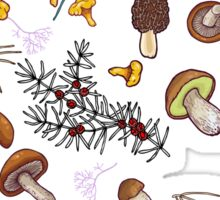 dark wild forest mushrooms Sticker