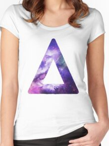 Bastille Triangle Logo (Galaxy Print) Women's Fitted Scoop T-Shirt