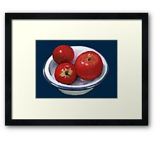 Red Apples in Old Enamel Bowl, Oil Pastel Framed Print