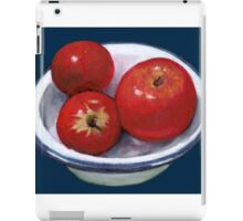 Red Apples in Old Enamel Bowl, Oil Pastel iPad Case/Skin