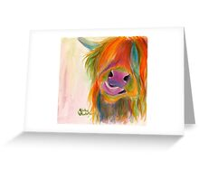 HIGHLAND COW 'JUICY FRUIT JOSIE' BY SHIRLEY MACARTHUR Greeting Card