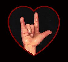 Hand Making Sign for I Love You, American Sign Language by Joyce Geleynse