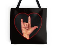 Hand Making Sign for I Love You, American Sign Language Tote Bag