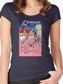 Copenhagen Vintage Travel Poster Restored Women's Fitted Scoop T-Shirt