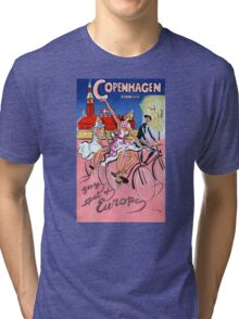 Copenhagen Vintage Travel Poster Restored Tri-blend T-Shirt