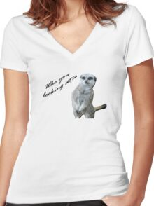 Who you looking at? Women's Fitted V-Neck T-Shirt